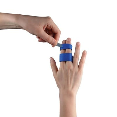 A person fitting a Thuasne Digiband Finger Support