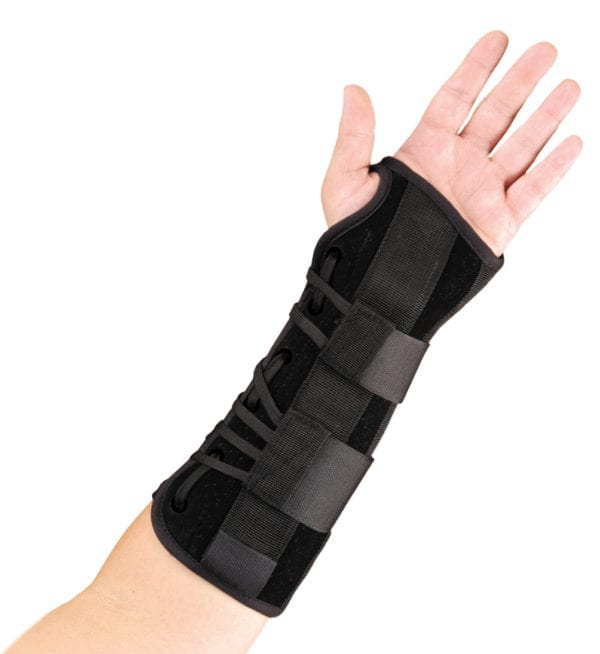 A person wearing a Hely & Weber Suede Wrist Wrap - Palm facing