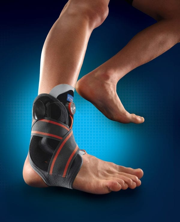 A person wearing a Thuasne Stabilising Ankle Brace (BOA)