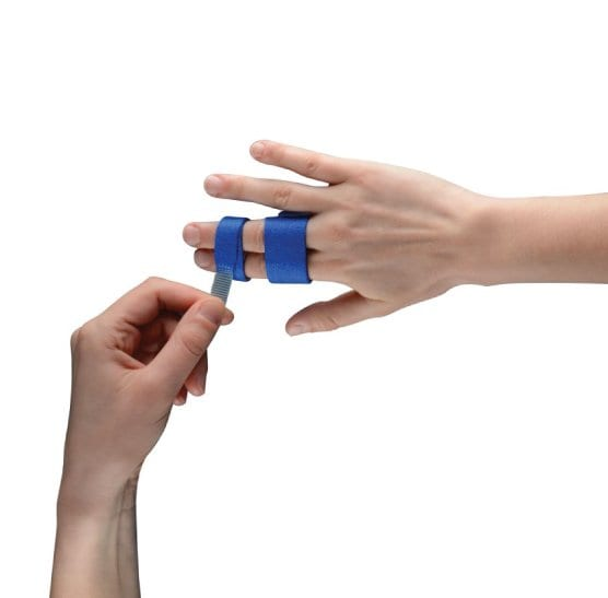 Hand wrapping a Thuasne Digiband Finger Support on another hand