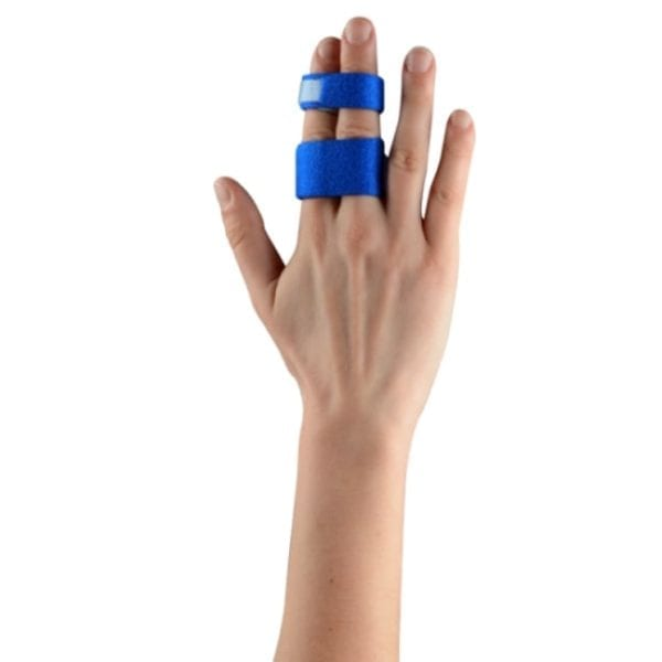 A hand wearing a Thuasne Digiband Finger Support